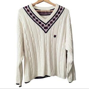 IZOD Vintage 90s V Neck Prep Tennis Sweater
